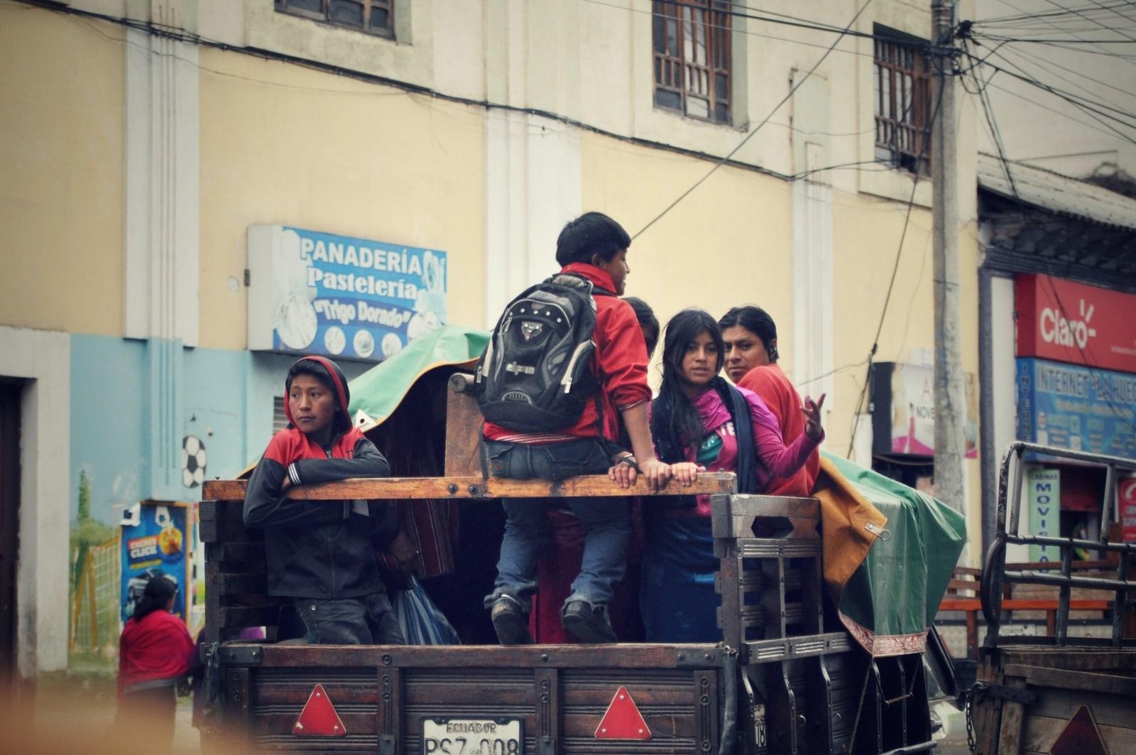 Famille dans les rues de Riobamba Riobamba