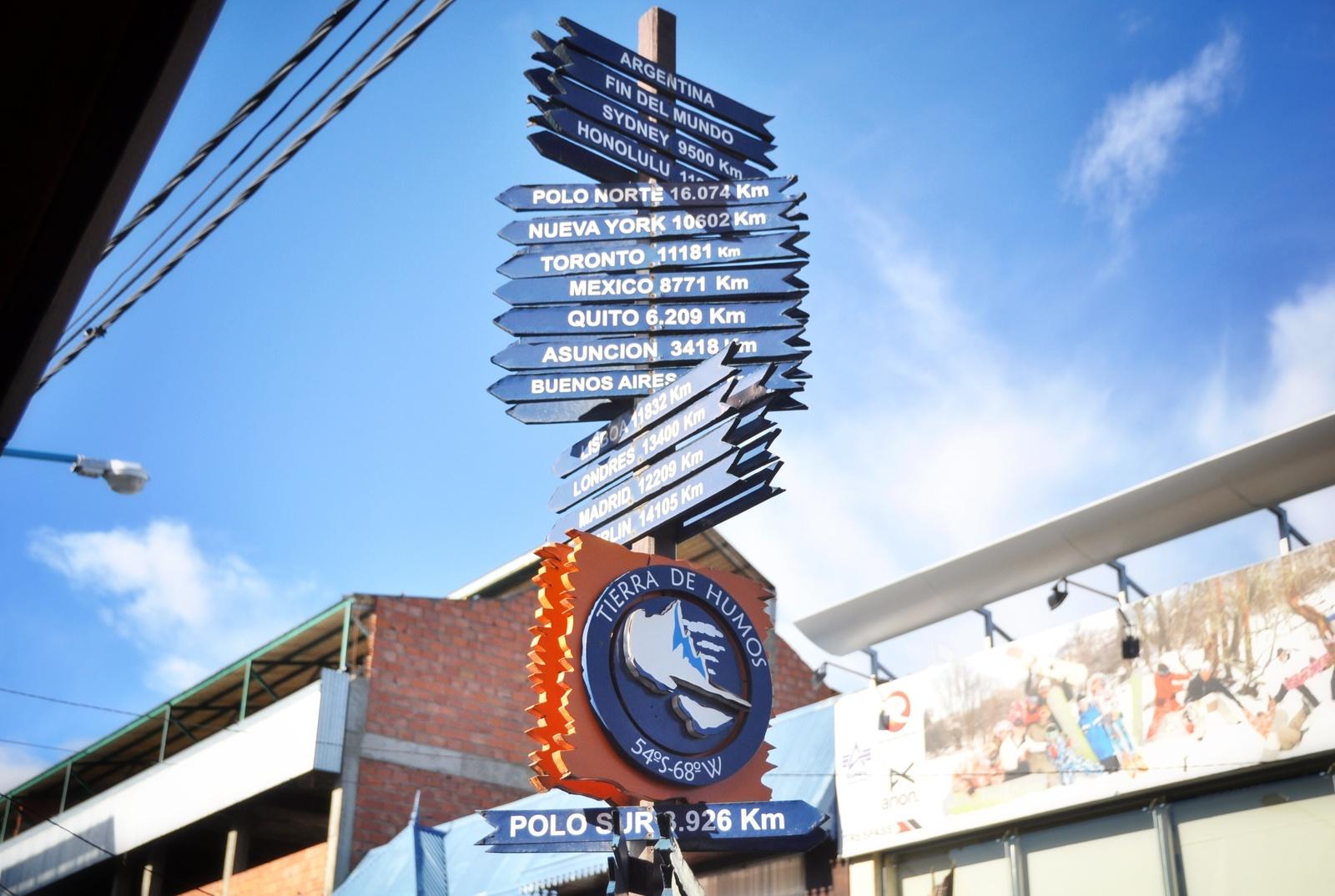Panneau de directions, Ushuaia Ushuaia