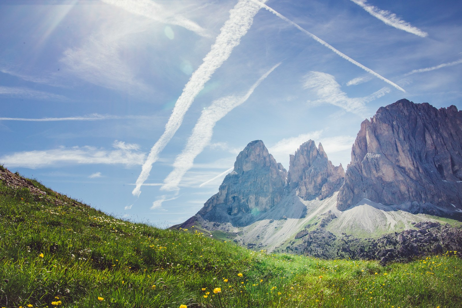 Vue depuis Passo Sella Dolomites