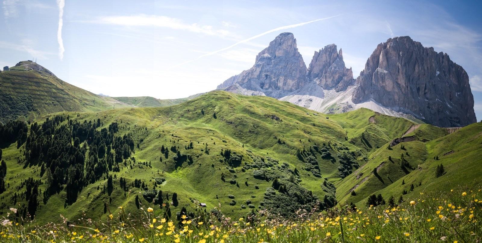 Panorama Passo Sella en Italie Dolomites