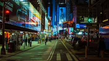New york by night time square