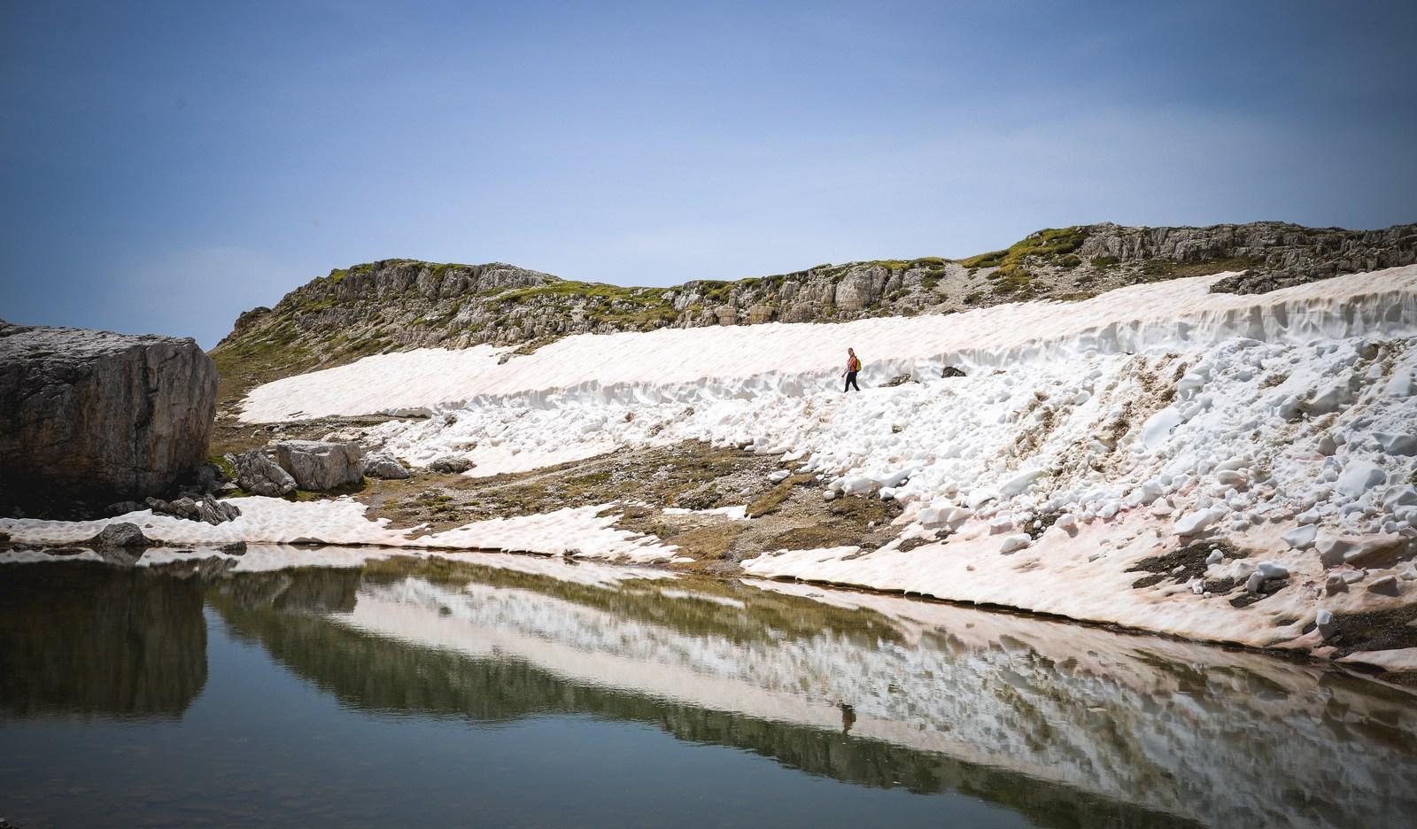 Glace et eau dans parc naturel di Lavadero Parco naturale Tre Cime