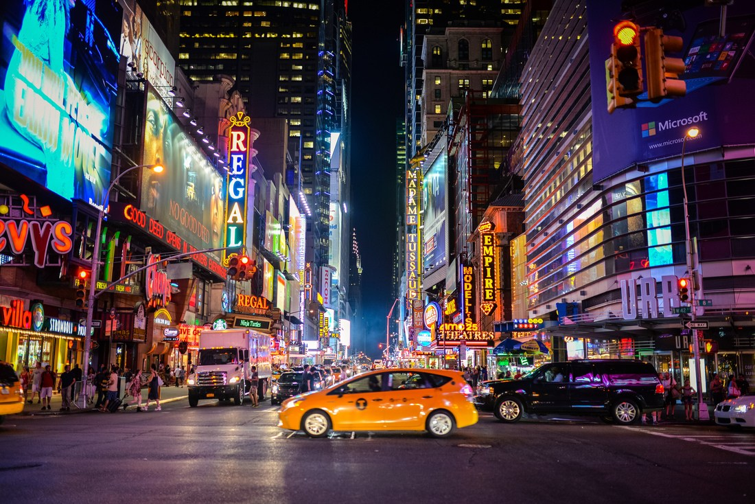 New York et Yellow Cab la nuit