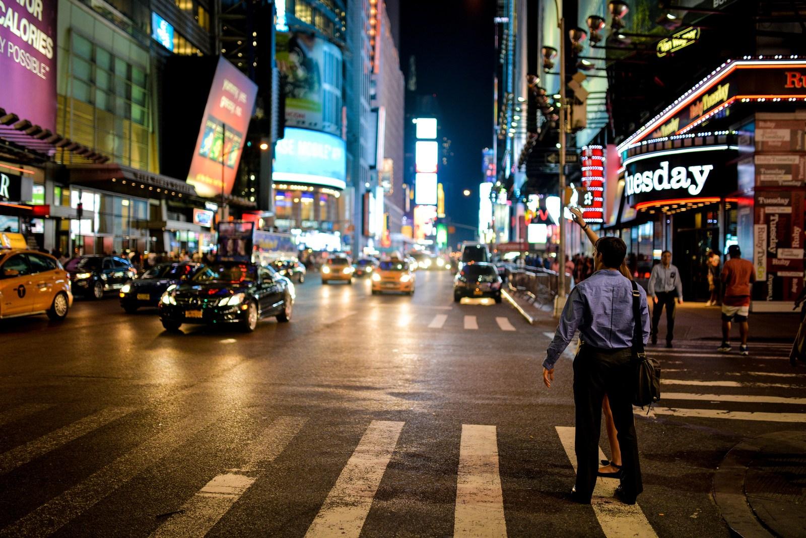 Prendre un taxi à Times Square Manhattan