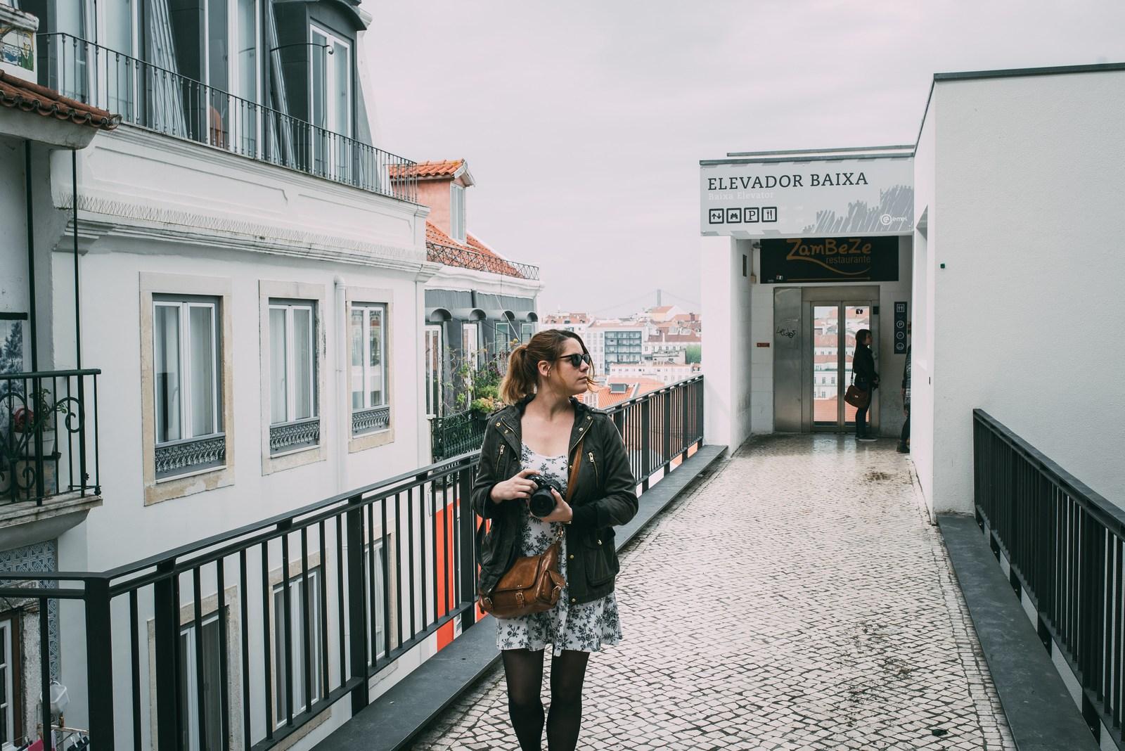 En haut de l'elevador Baixa Lisbonne