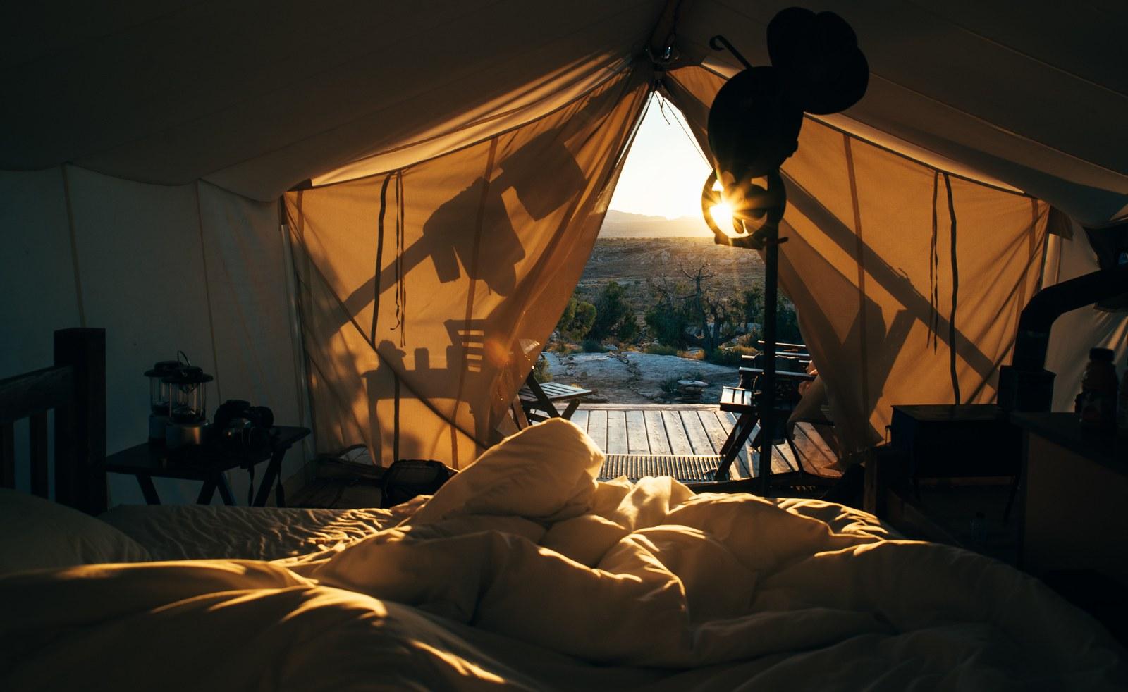 Depuis l'intérieur de la tente  Moab