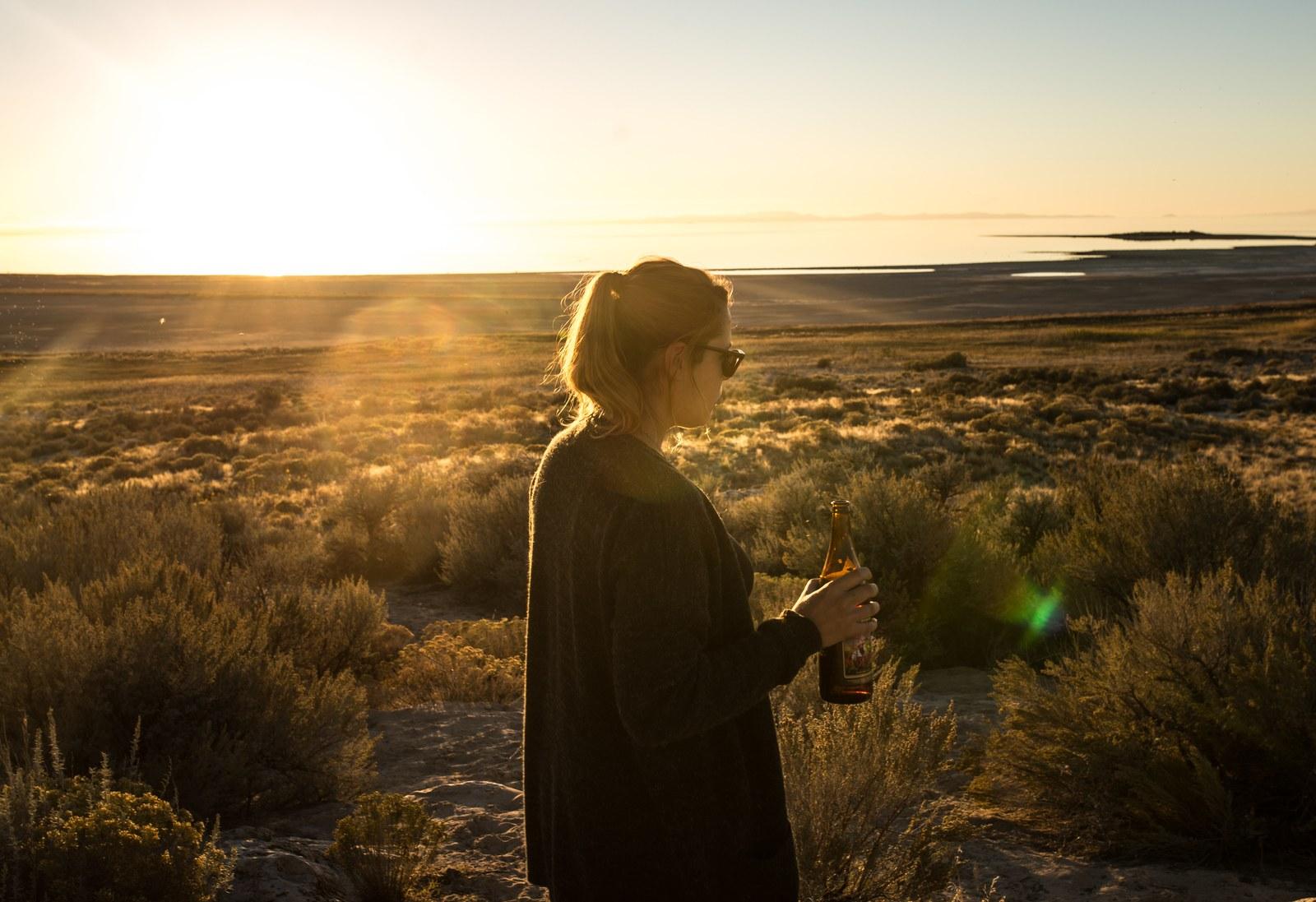 Profiter d'un beau coucher de soleil Antelope Island