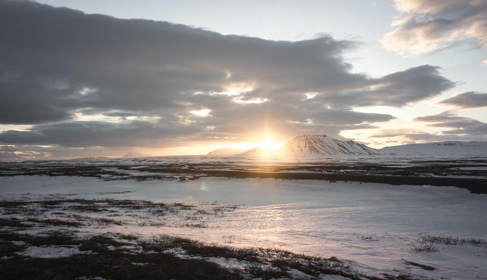 Coucher de Soleil, nord Islande Mývatn