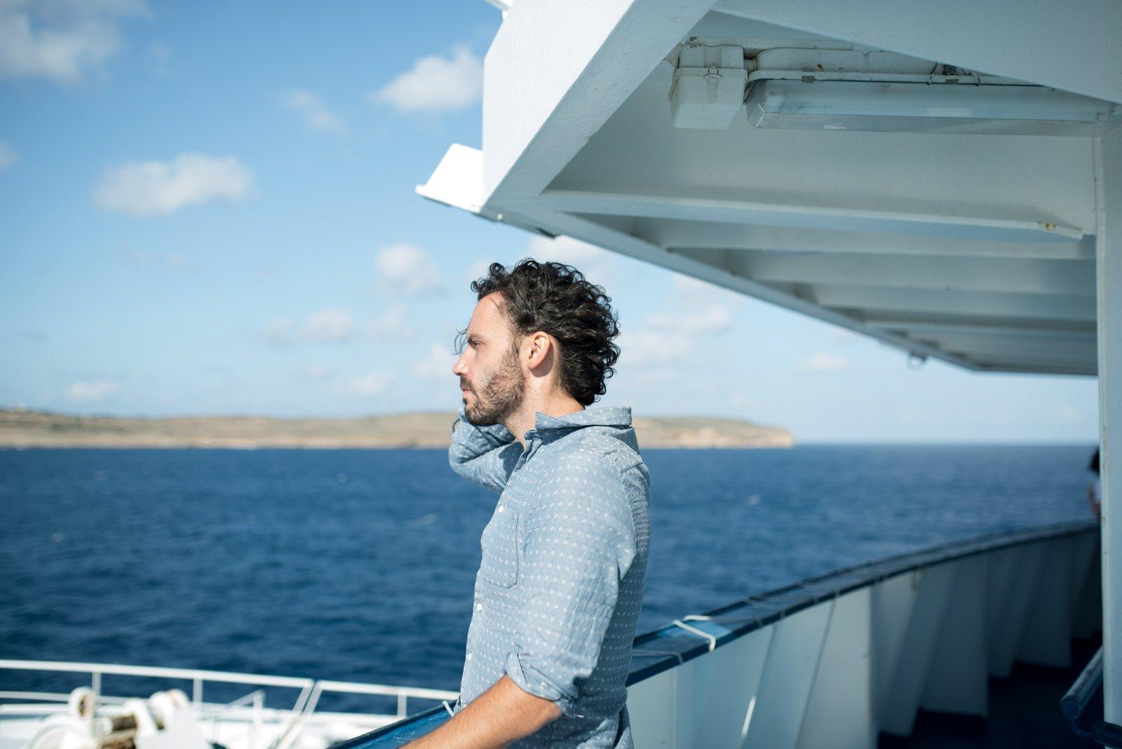 Seb, sur le bateau direction Gozo Kemmuna