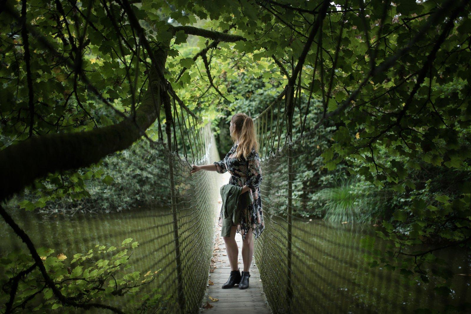 Pont suspendu, parc botanique haute Bretagne Le Chatellier