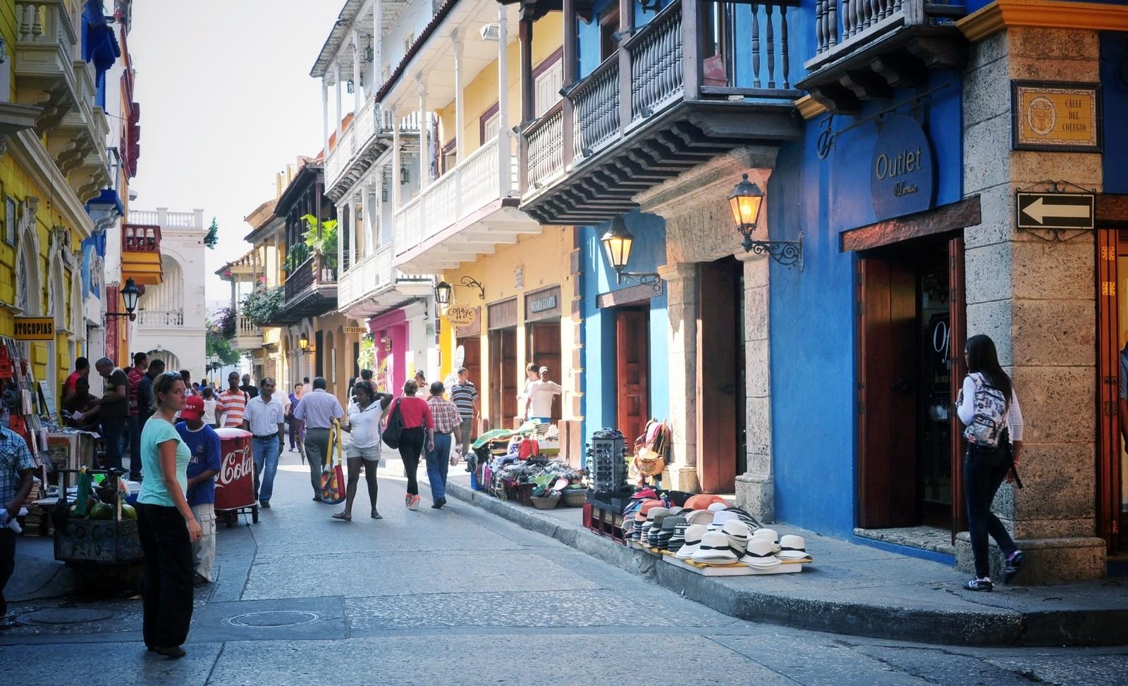 Rue colorée de Carthagène, Colombie Carthagène